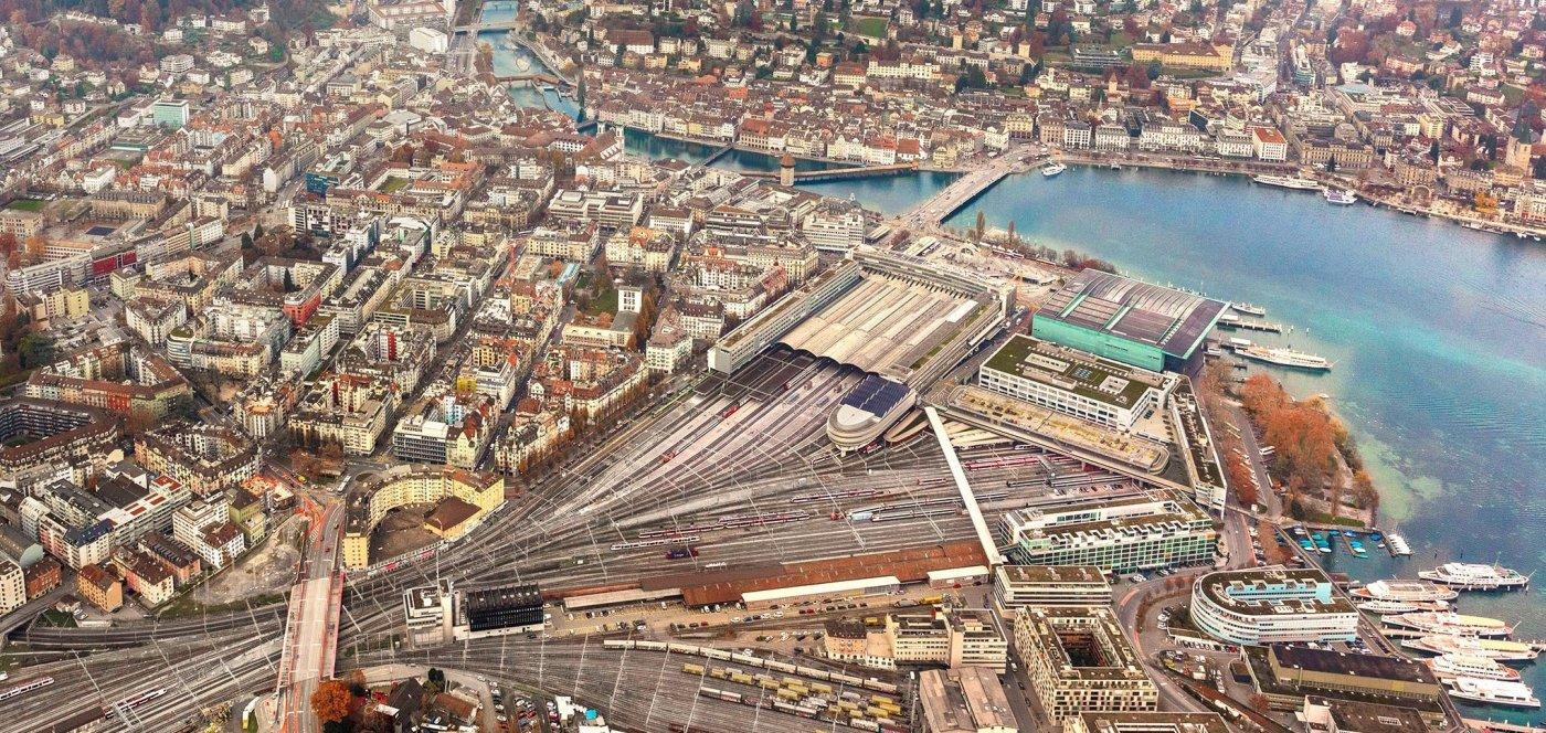 Luzern Bahnhof von oben